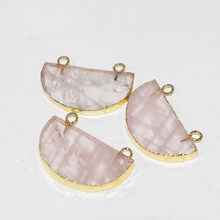Natural Rose Crystal Quartz Moon Necklace Pendants femme 2019 Pink gold bezel stone connector for women jewelry making as gifts()