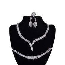 Conjunto de jóias hadiyana charme colar brincos anel pulseira presente casamento nupcial elegante para as mulheres alta qualidade cny0046 bisuteria
