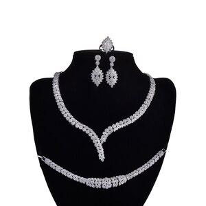 Image 1 - תכשיטי סט HADIYANA קסם שרשרת עגילי טבעת צמיד מתנת כלה חתונה אלגנטית לנשים באיכות גבוהה CNY0046 Bisuteria
