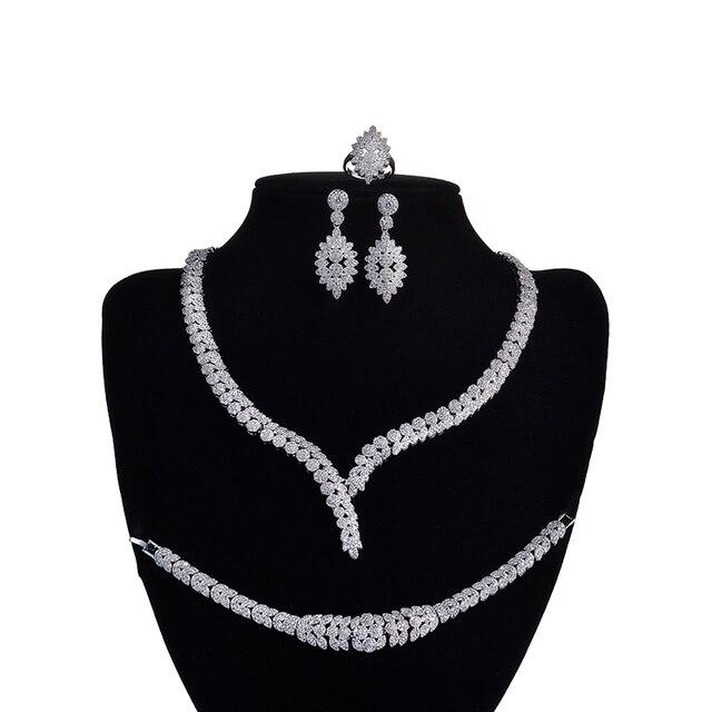 תכשיטי סט HADIYANA קסם שרשרת עגילי טבעת צמיד מתנת כלה חתונה אלגנטית לנשים באיכות גבוהה CNY0046 Bisuteria