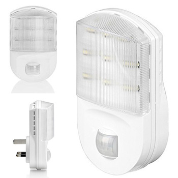 White UK Plug In PIR Motion Sensor Hallway Socket White LED Night Light Safety