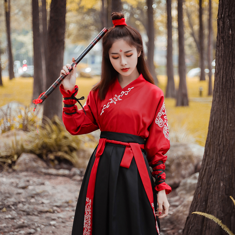 Han Nationality\'S Ancient Costumes Hanfu Dress Chinese Folk Dance Clothes Classical Swordsman Clothing Traditional Fairy Cosplay