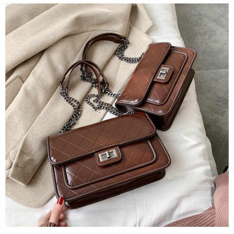 Bolsa feminina 2019 nova moda coreana casual xadrez corrente ombro saco do mensageiro famosa marca clássica designer crossbody saco