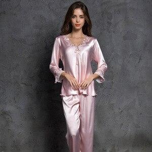 Image 1 - 2019 Sexy Satin Pajama Set Autumn Pijama Femme Night Suits Ladies Long Sleeve+Pants 2 Pcs Sleepwear Set Silk Pyjamas Homewear