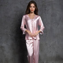 2019 Sexy Satin Pyjama Set Herbst Pijama Femme Nacht Anzüge Damen Lange Hülse + Hosen 2 Pcs Nachtwäsche Set Seide pyjamas Homewear