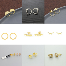 2019 New Gold Color Double Round Small Crystal Pave Double Circle Stud Earrings antlers Elephant Stud Earrings for Woman black color circle shape large stud earrings