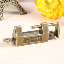 Retro Padlock Drawer-Cabinet Zinc-Alloy Suitcase Old with Key for 33x18mm 1pc Jewelry