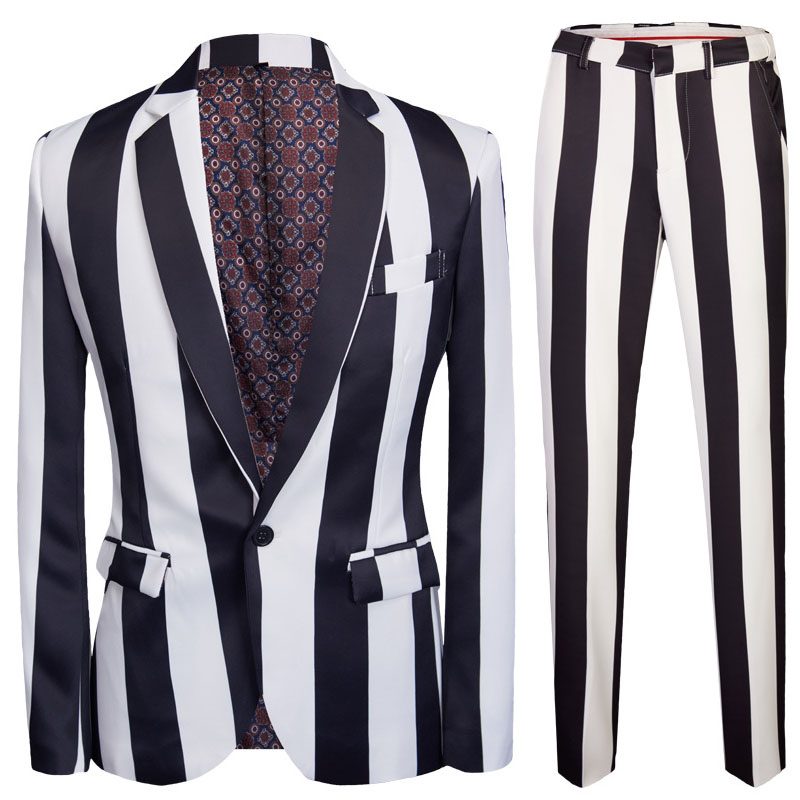 Striped Printed Men Suit 2019 Korean Slim Fit 2 Pieces Office Work Business Dress Suits Blazers And Pants White-black Party Show