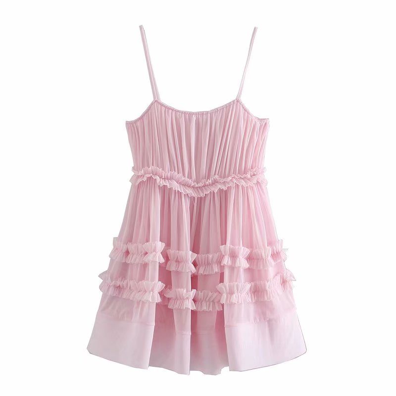 2020 Women sweet agaric lace patchwork pink sling Dress Female spaghetti strap ruffles Vestidos Chic casual Mesh Dresses DS3742