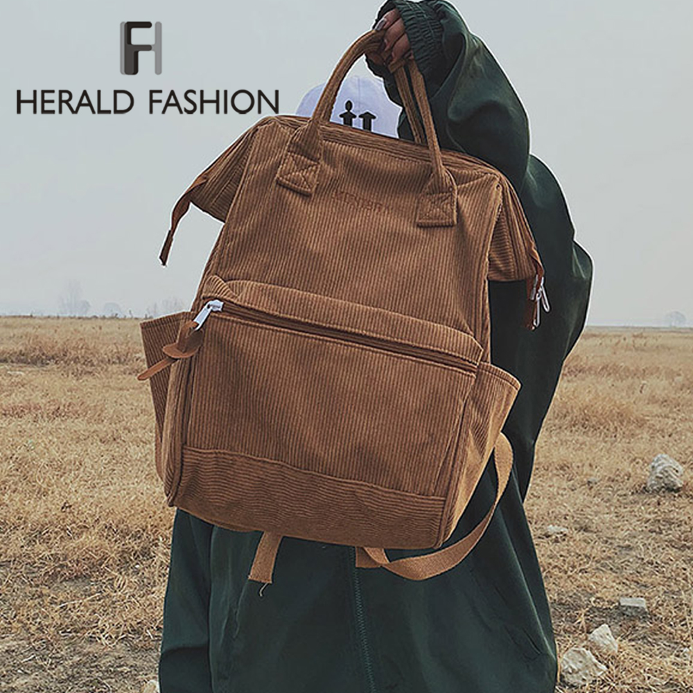 Herald Fashion Women Corduroy Backpacks Autumn Winter Casual Style Bags Student Solid Color Backpack Female Large Capacity Bag