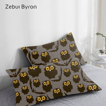 3D Pillow Case black black owl,Pillowcase Custom/50x70/50x75 Decorative Pillow Cover,Cartoon Bedding for kids/baby/children image