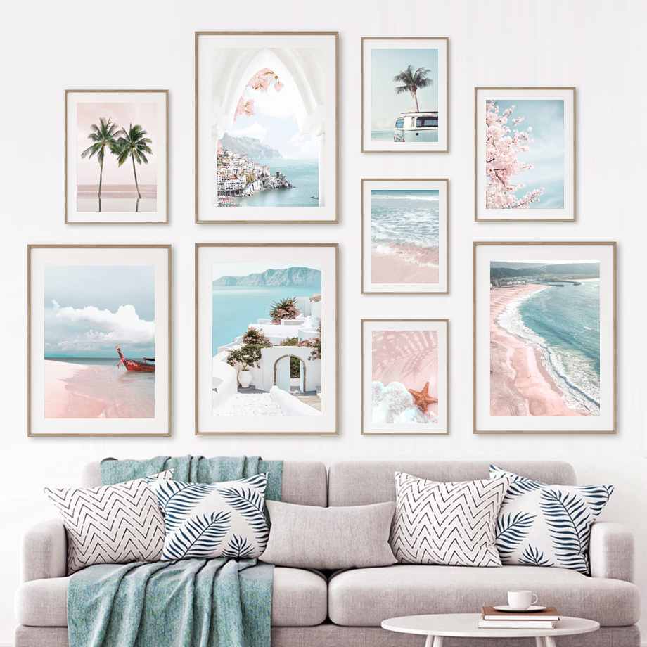 Pink Aegean Sea Beach Cherry Palm Tree Wall Art Canvas Painting Nordic Posters And Prints Wall Pictures For Living Room Decor