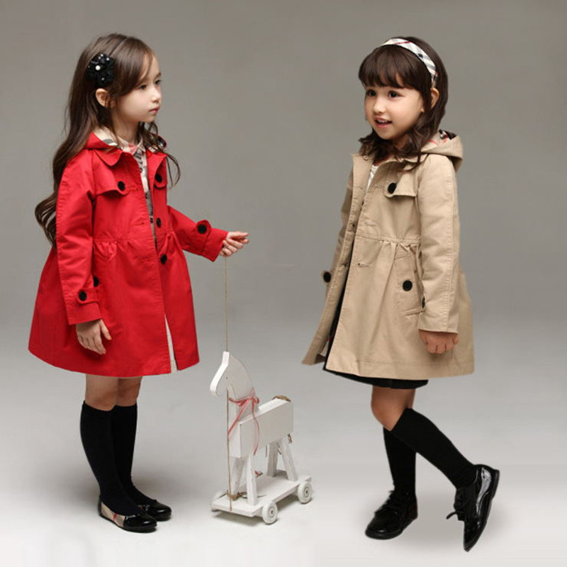 Girls Windbreaker 2019 New Girls Spring And Autumn Coat Children's Wear 2-8years Spring Cardigan Windbreaker With Hooded CT060