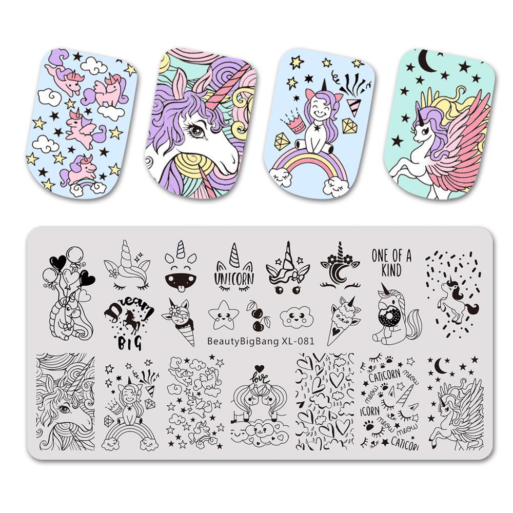 Штамповочные пластины Beautybigbang, 6*12 см, облако, звезда, милый единорог, шаблон, форма для дизайна ногтей, инструмент, аксессуары, штамповочная п...