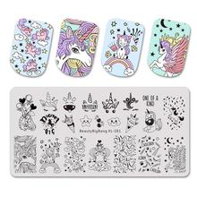 Beautybigbang Stamping Plates 6*12CM Cloud Star Cute Unicorn Pattern Nail Art Mold Tool Accessories Stamping Plate Print XL 081