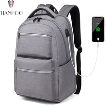 TIANHOO New Mens Fashion Backpacks Multifunctional Casual Computer Bag College Student USB Waterproof Backpack(China)