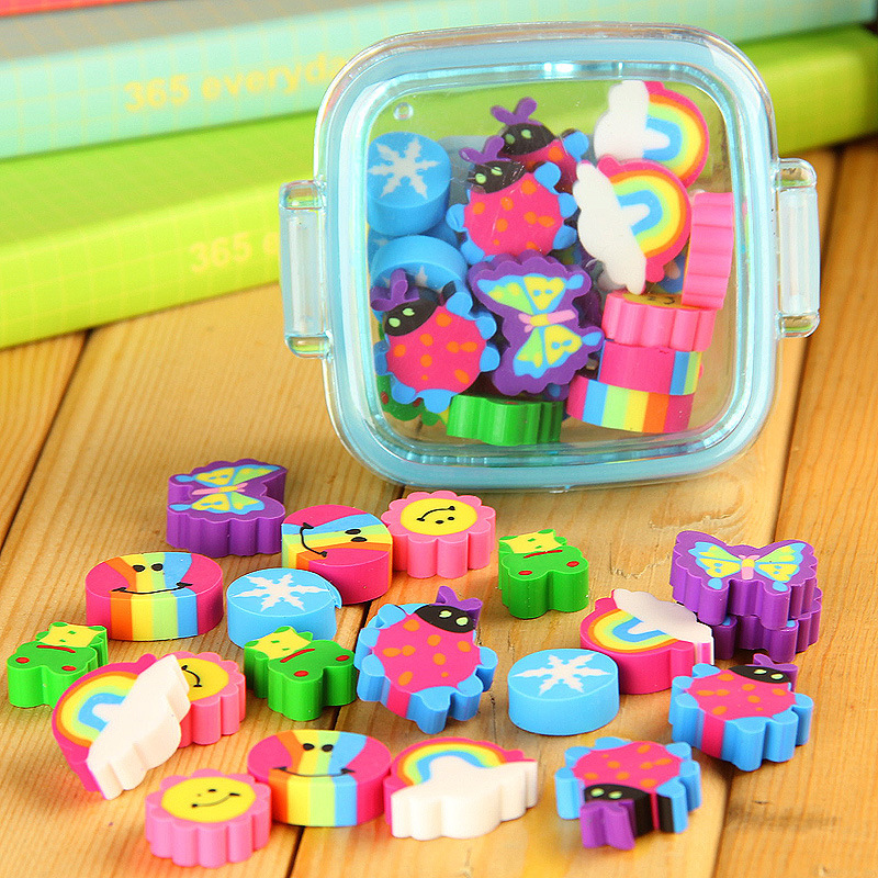 20Pcs/set Cute Rubber Eraser Kid Gift School Supplies Stationery Borracha Material Escolar Utiles Escolares Papelaria