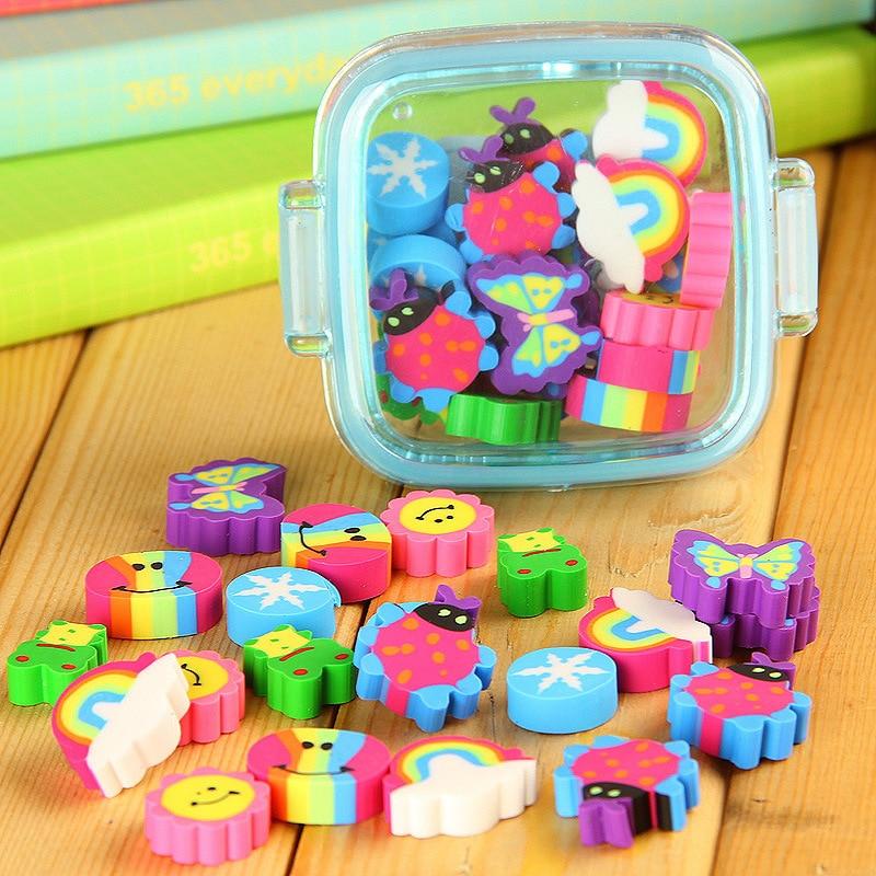20Pcs/set Cute Rubber Eraser Kid Gift School Supplies Stationery Borracha Material Escolar Utiles Escolares Papelaria