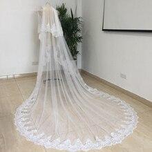 Белая/слоновая кость 2T Соборная кружевная свадебная вуаль с расческой, Новые Свадебные вуали, свадебные аксессуары