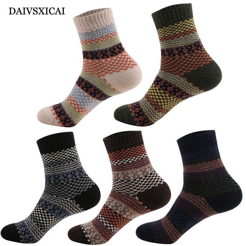 3Pairs/lot=6pieces Rabbit Wool Socks Men Long Tube Retro Male Socks National Wind Warm Socks Fashion Man