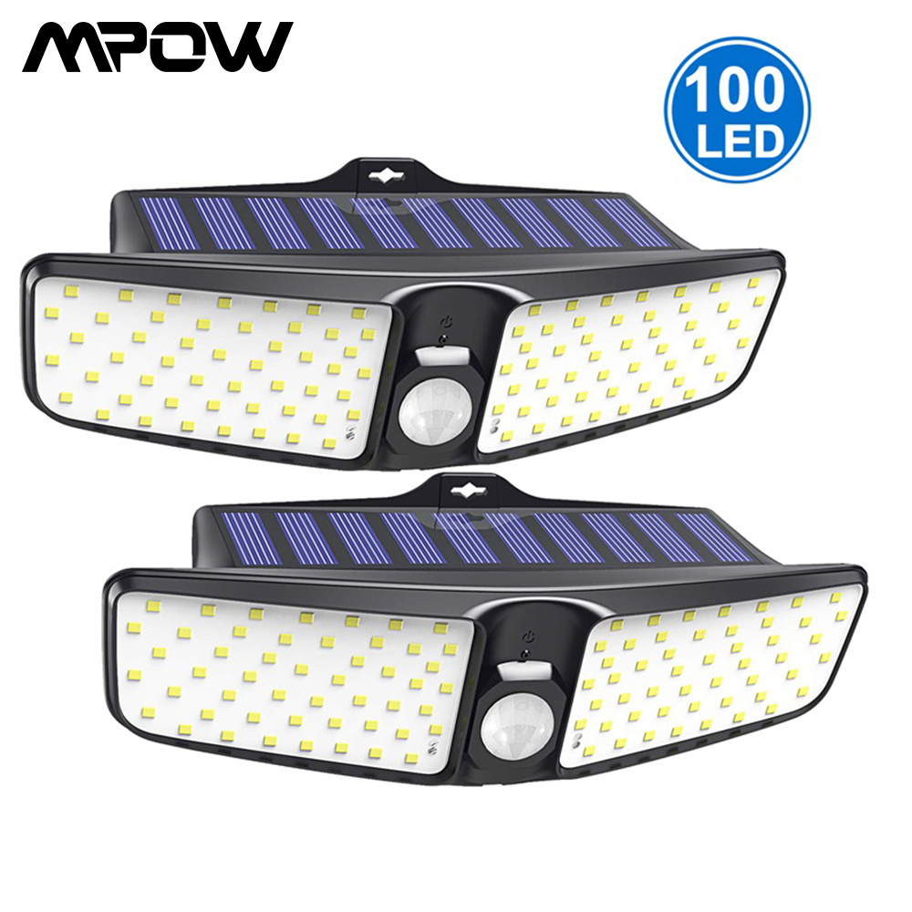 Upgraded 100 LED Solar Lights Motion Sensor Wall Light IP65 Waterproof Security Solar Outdoor Garden Mpow Wireless Solar Lamp