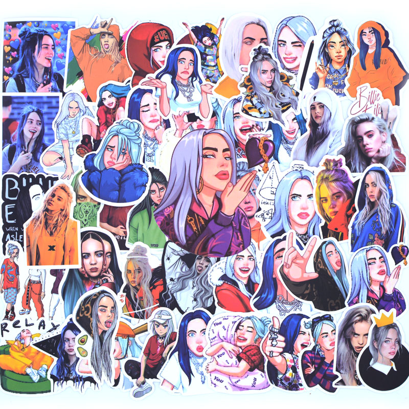 50 PCS Billie Eilish Stickers Pack Waterproof For On Suitcase DIY Laptop Guitar Skateboard Lovely Singer Cartoon Sticker