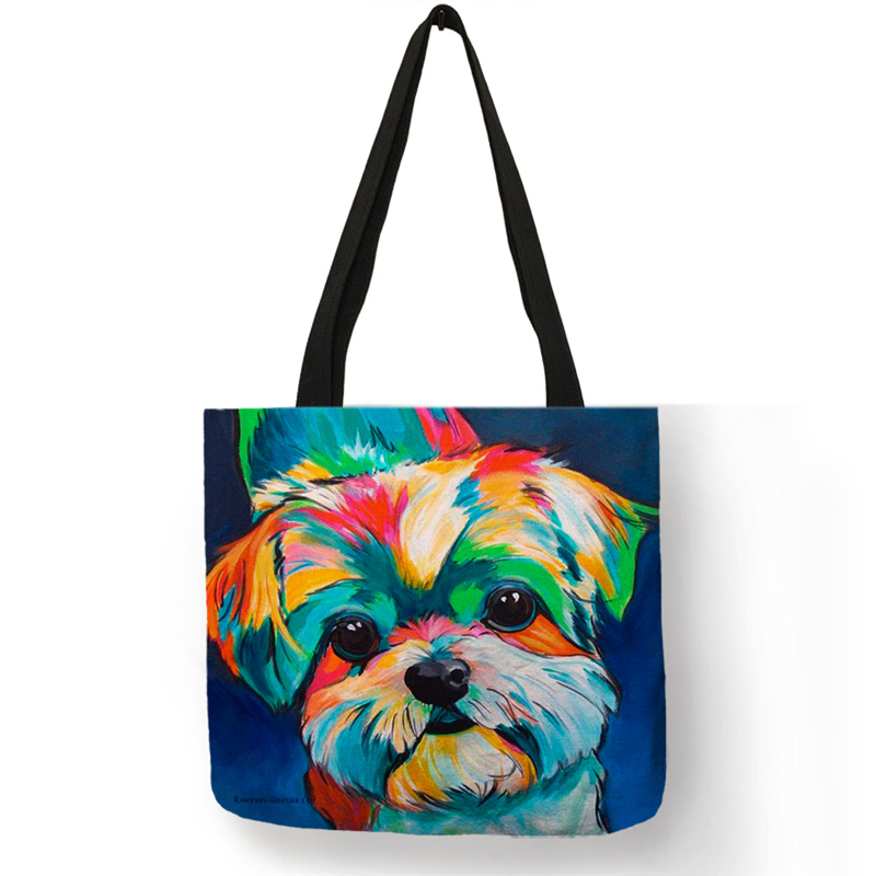 Exclusive Oil Painting Dog Print Shopping Bag For Women Men Papillon Pug  Retriever Printed Handbag Shoulder Bags Large Capacity