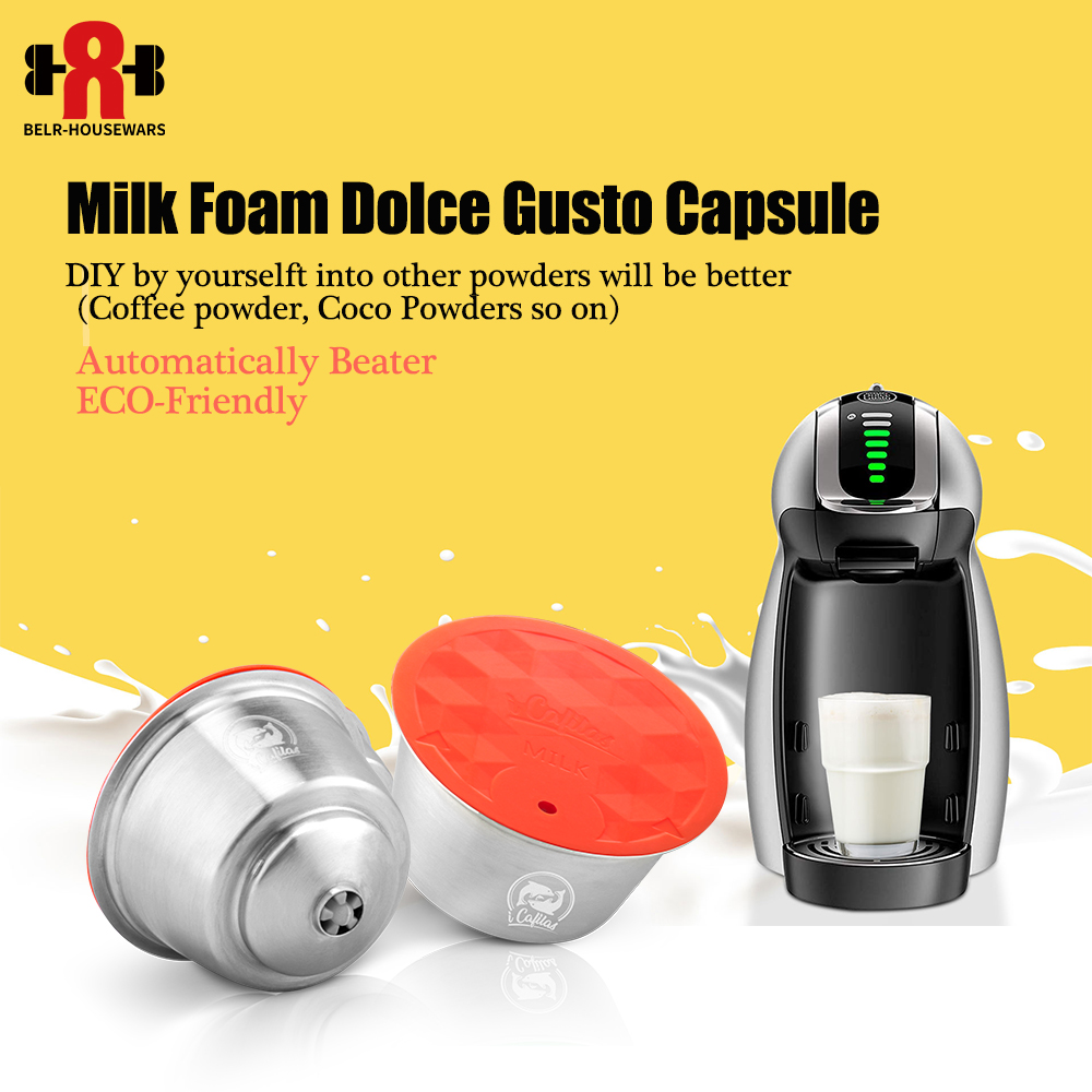 ICafilas Milk Foam Filters For Nescafe Dolce Gusto Aeroccino Reusable Stainless Steel Dolci Gusto Coffee Capsules Pod Spoon