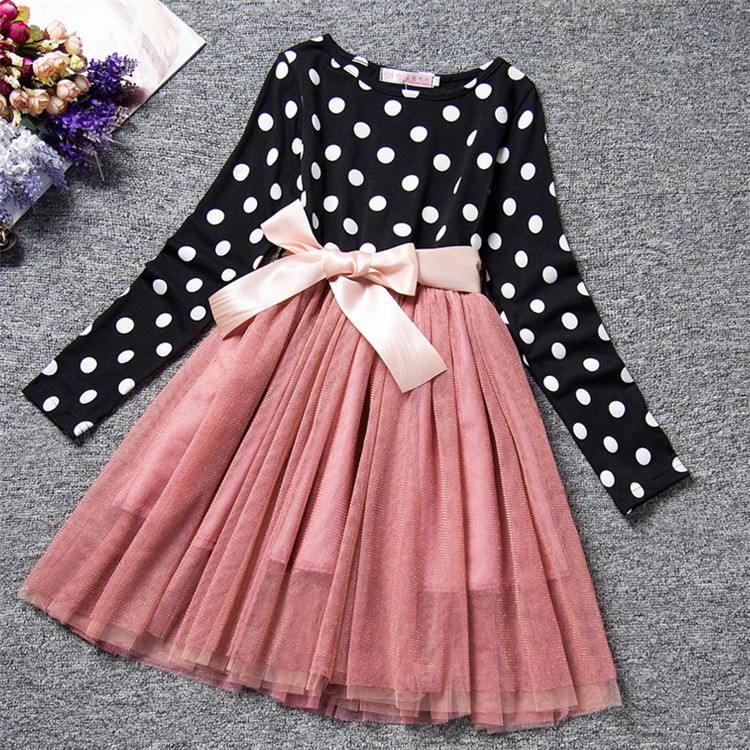 Baby Girl Long Sleeve Polka Dot Dress Girls Autumn Winter 2020 Princess Teenage Casual Wear School Kids Girls Party Tutu Dresses 5