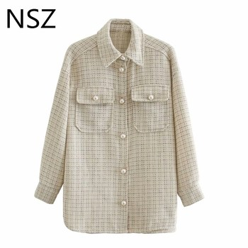 NSZ women houndstooth tweed jacket woolen oversized plaid shirt coat pearl button blouse jacket checked outwear streetwear Fall checked knot front shirt