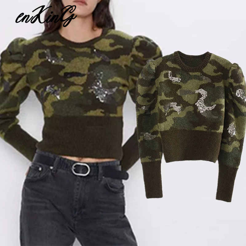 2019 winter za sweaters women pull femme england high street vintage camouflage cartoon sequins short sweaters women pullovers
