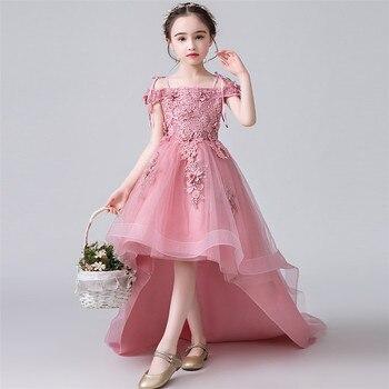 Luxury Children Girls Model Show Appliques Flowers Piano Costume Long Tailing Dress Kids Teens Birthday Wedding Evening Dress