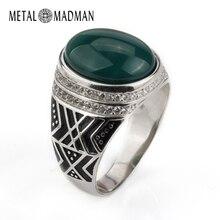 Мужское кольцо из серебра 925 пробы с крупным натуральным агатом