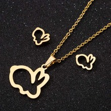 Gold Color Cut Rabbit Pendants Necklace for Women Fashion Vintage Stainless Steel Animal Necklaces 2020 Jewelry Men Gift high quality fashion gents women stainless steel health jewelry anion fir germanium gold necklace pendants