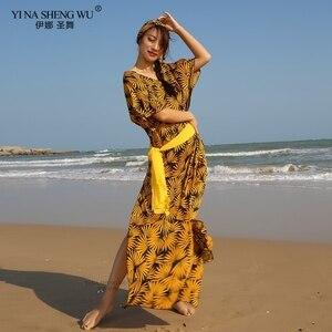 Новинка, модная женская Одежда для танцев, одежда для танца живота, Baladi, платье saidi, цельные платья для девочек, цветочный костюм, платье для т...