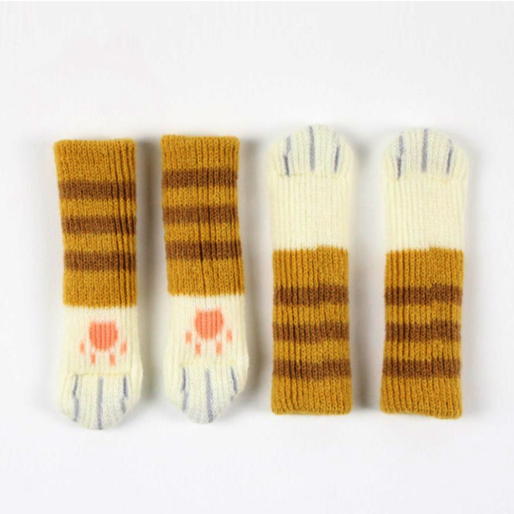 Chair Booties Sleeve Knitted Chairs Legs Cover Cat Paws Protective Chairs Leg Socks Table Floor Non-Slip Protector Wholesale