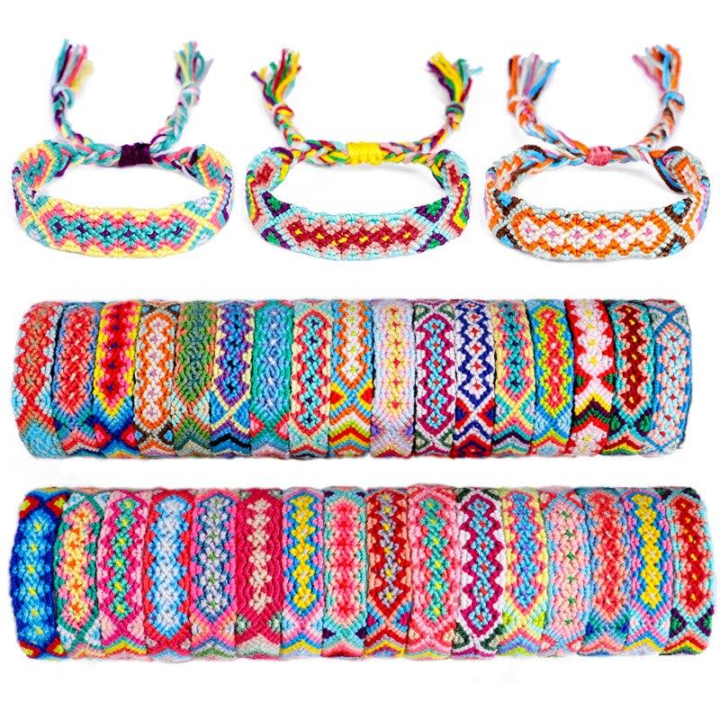 30Colors Boho Nepal Ethnic Handmade Bracelet Summer Beach Braid String Cotton Wrap Woven Rope Friendship Bracelets For Women Men