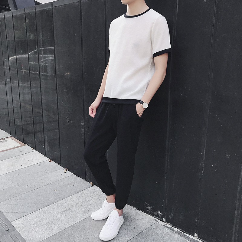 Fashion Casual Mens Short Sleeve T-Shirts Ankle Calf Length Pants Loose Fit Plus Size Male 2Pcs Sets Sportswear