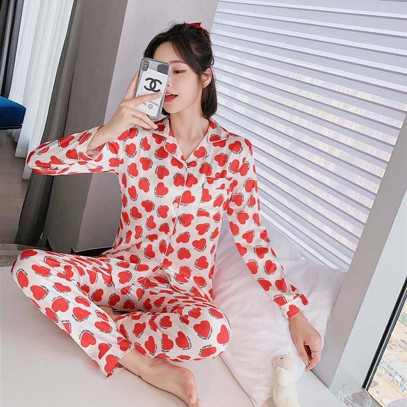 Silk Pajamas for Women Pyjama Satin Femme Night Peach heart Print long sleeved top and pants Women's Home Suit Simple Sleepwear|Pajama Sets| - AliExpress