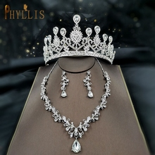 A175 Luxury Wedding Crown Tiaras Earring Necklace