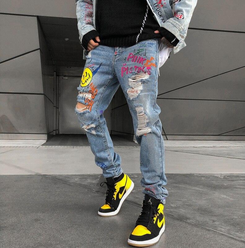 Grafitti Smile Print Men Painter Jeans Distressed Demin Pants Streetwear