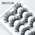 HBZGTLAD 5 пар 3D норковые ресницы оптом искусственные с заказной коробкой натуральные норковые ресницы пакет короткие Оптовые натуральные накл...