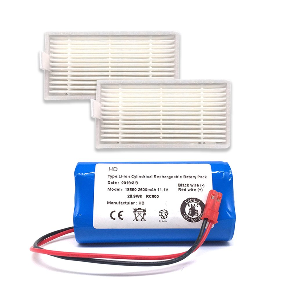 Rechargeable For ILIFE Battery + Brush Filter 11.1V 2600mAh Robotic Vacuum Cleaner Accessories For Chuwi For Ilife V3 V5 V5S V5S