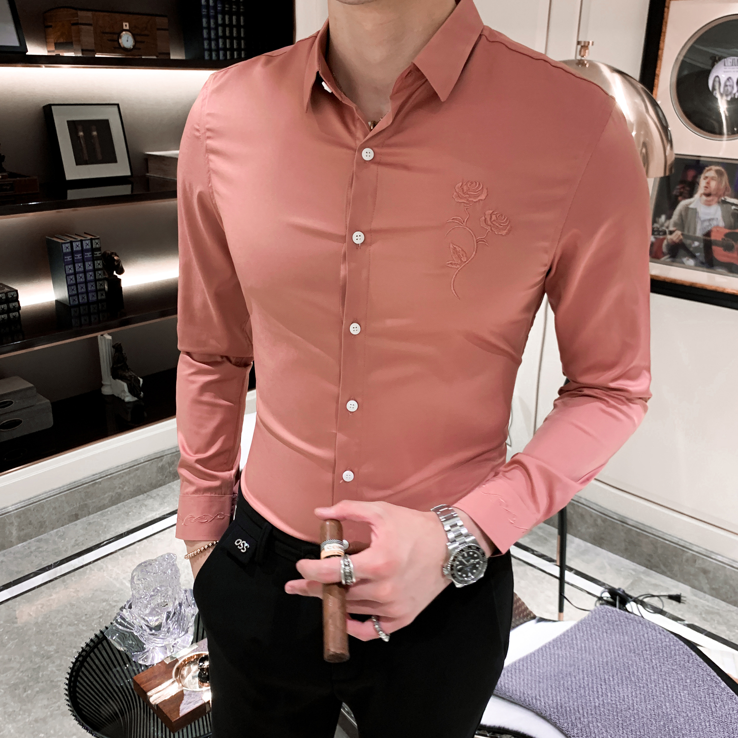 Domple Mens Trendy Slim Fit Long Sleeve Turn Down Collar Club Button Down Dress Shirts