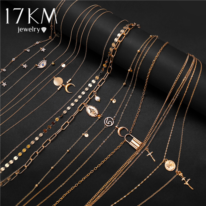 17KM BOHO Bohemian Gold Necklaces For Women Coin Heart Flower Star Choker Pendant Necklace 2020 Ethnic Female Jewelry Gift(China)