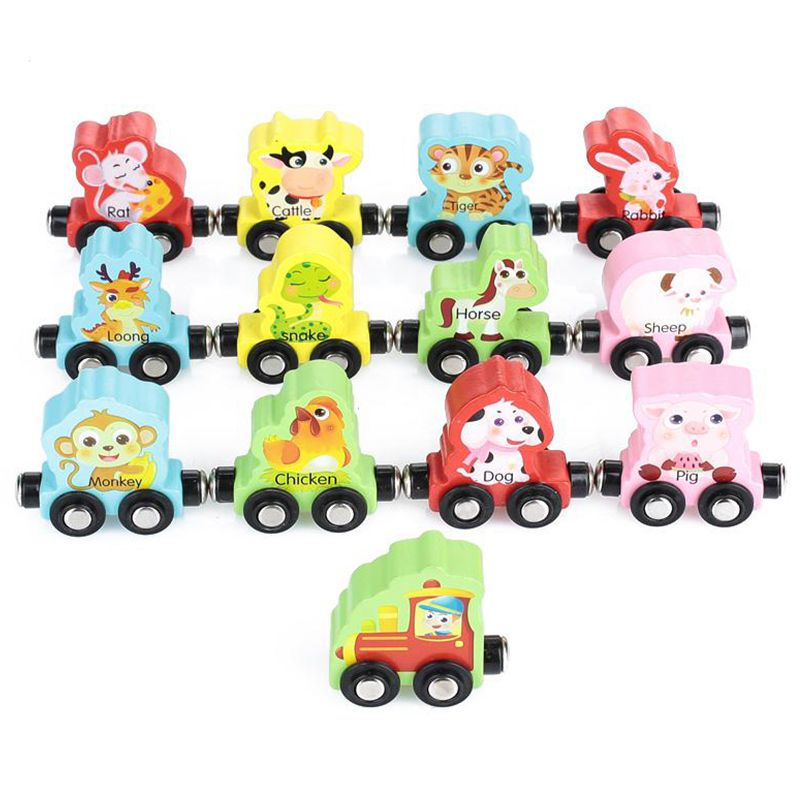 MWZ Chinese Zodiac Trains Toy Magnetic Wooden Train Car Wooden Magnetic Anime Locomotives Toy For Kids Gift