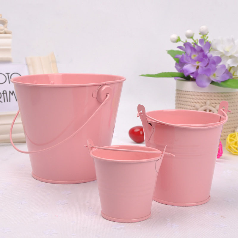 1 Pcs Small Iron Bucket Mini Bucket Bathroom Kitchen Household Waterer Outdoor Garden Watering Flower Container Gadget