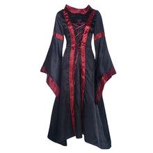 Women Cosplay Long Sleeve Medieval Victorian Dress Maxi Prom Halloween Costume Vintage Renaissance Cape Collar Ball Gown Witch(China)