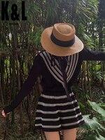 K&L 2020 autumn new black wool knit suit women retro o neck ruffled long sleeved cardigan shirt striped crocheted hollow shorts