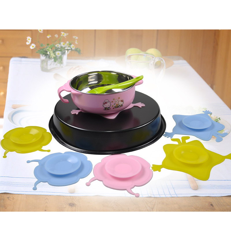 Baby Children Kids Bowl Sucker Suction Silicone Tableware Plate Dishes Double Sided Non-Slip Baby Feeding